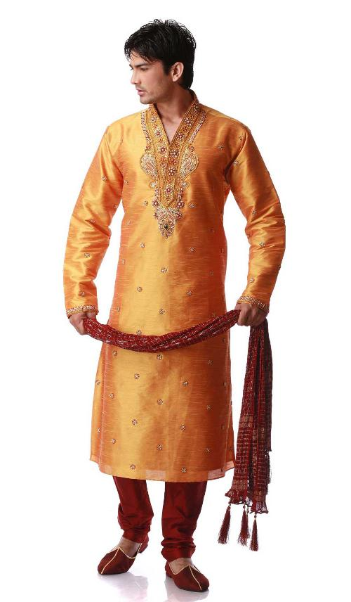 Orange Art Dupion Silk Embroidered Kurta Pajama for Mens by Indian Fashion Trend in Million Dollar Arm