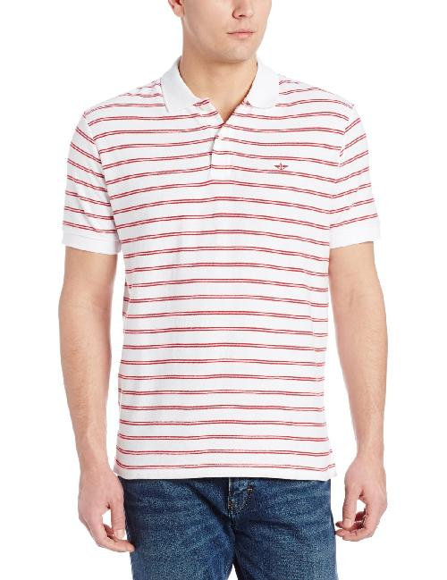 Men's Heritage Pique Double Stripe Short Sleeve Polo by Dockers in Million Dollar Arm