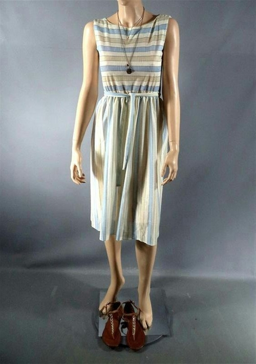 Custom Made Striped Midi Dress by Arjun Bhasin (Costume Designer) in Begin Again