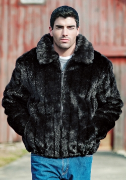 Mink Faux Fur Bomber Jacket by Fur Hat World in Fight Club