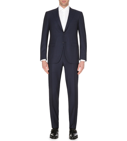 Peak Lapel Wool Suit by Canali in Elementary