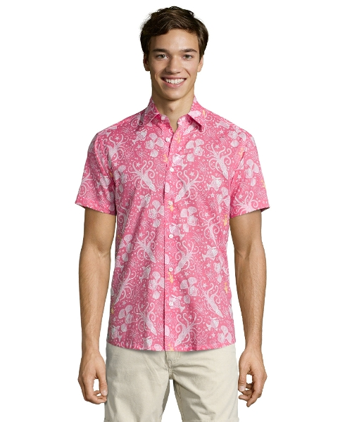 Print Cotton Short Sleeve Button Front Shirt by Report Collection in Masterminds