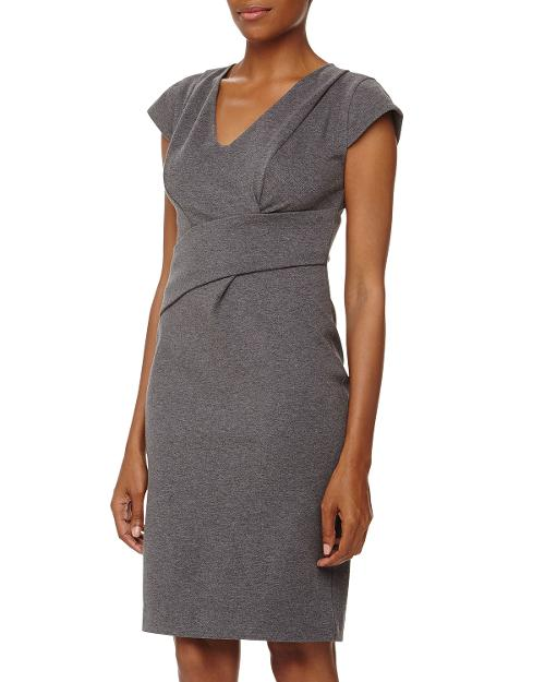 Cap-Sleeve V-Neck Asymmetric Jersey Dress by Rebecca Taylor in Fifty Shades of Grey