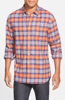 'Jaspé Lux Flannel' Trim Fit Plaid Twill Sport Shirt by Grayers in Black-ish