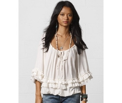 Ruffled Peasant Top by Denim & Supply Ralph Lauren in Black or White