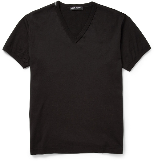 V-Neck Cotton-Jersey T-Shirt by Dolce & Gabbana in Fast Five