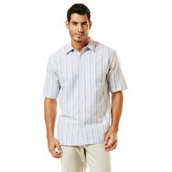 Men's Striped Linen-Blend Casual Button-Down Shirt by Havanera in Knocked Up