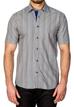 Striped Pattern Short Sleeve Sport Shirt by Horst in Modern Family