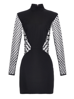 Long-Sleeved Polka-Dot Mini Dress by Balmain in Keeping Up With The Kardashians