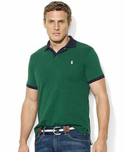 Custom-Fit Contrast-Collar Short-Sleeve Mesh Polo by Polo Ralph Lauren in The Program