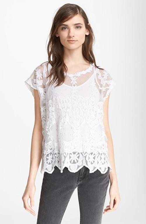 'Tame' Embellished Lace Top by Zadig & Voltaire in Million Dollar Arm