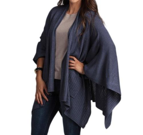 Knitted Poncho Cape Shawl Wrap with Pockets by Taleen in The Hundred-Foot Journey