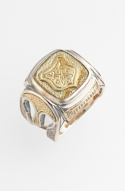 Two-Tone Rectangle Shield Ring by Konstantino in Dope