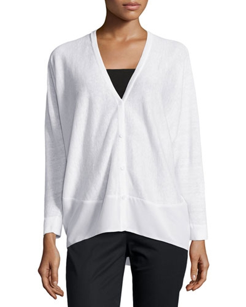 Linen Cardigan With Tonal Chiffon Hem by Lafayette 148 New York in Ricki and the Flash