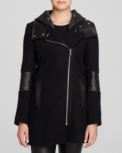 Corey Leather Trim Hooded Coat by Andrew Marc in Jessica Jones