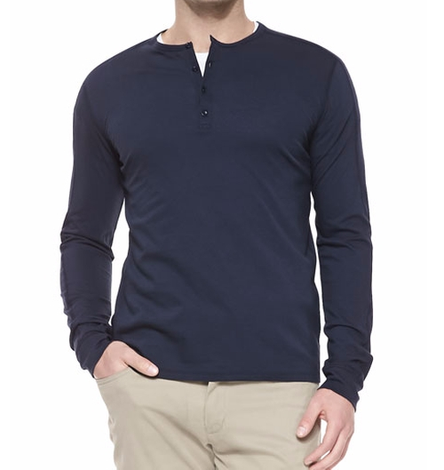 Long-Sleeve Jersey Henley Shirt by Vince in Popstar: Never Stop Never Stopping