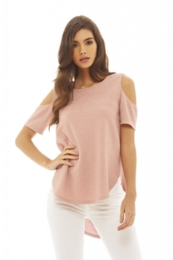 Cut Out Shoulder Textured Top by AX Paris in Chelsea