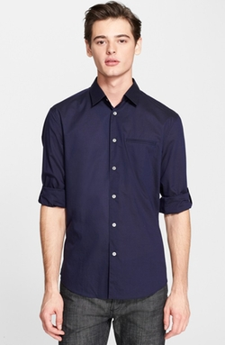 Slim Fit Cotton Woven Shirt by John Varvatos Collection in Ballers
