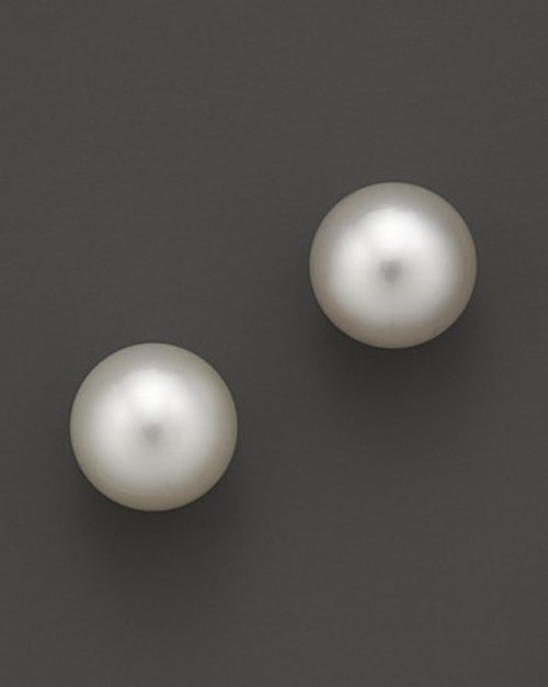 White South Sea Cultured Pearl Stud Earrings by Tara Pearls in Shutter Island