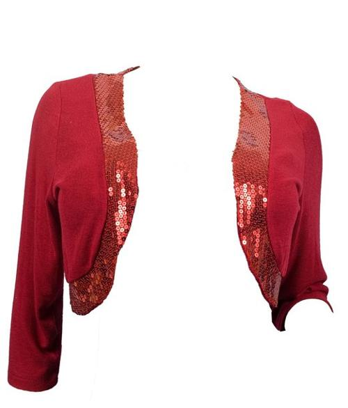 Trim 3/4 Sleeve Cropped Bolero Shrug Red by eVogues in The Best of Me