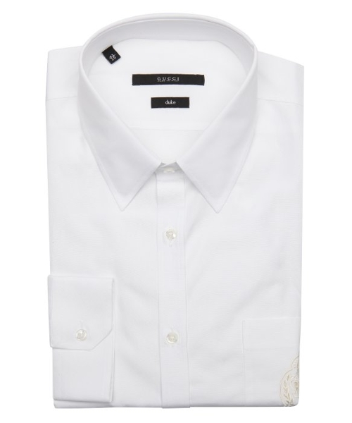 Point Collar Logo Embroidered Dress Shirt by Gucci in Self/Less
