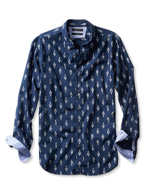 Slim-Fit Custom 078 Wash Ikat Shirt by Banana-Republic in The Mindy Project - Season 4 Episode 8