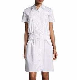 Short-Sleeve Poplin Shirtdress by Carven in Allied