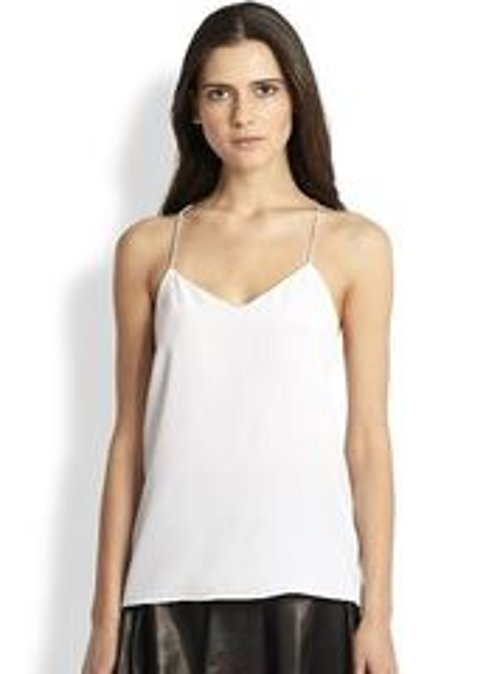 Silk Crepe de Chine Camisole Top by Tibi in Vice