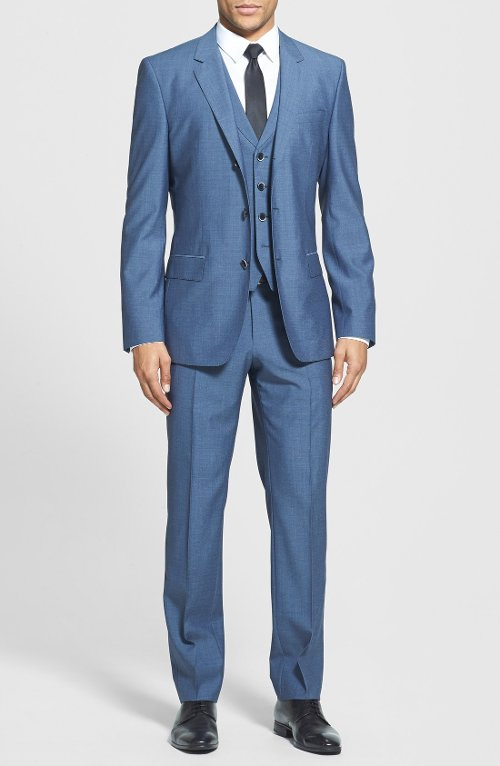 'Hendry/Fly' Trim Fit Three-Piece Suit by Hugo Boss in Anchorman 2: The Legend Continues
