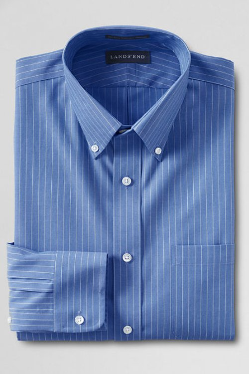 Pinpoint Buttondown Dress Shirt by Lands End in Twilight