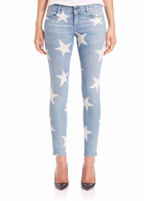 Star-Print Skinny Jeans by Stella McCartney in Mistresses - Season 4 Episode 7