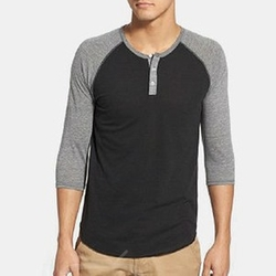 Trim Fit Heathered Raglan Henley Eco Shirt by Alternative Apparel in Silicon Valley