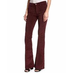 Marrakech Velvet High-Rise Kick-Flare Jeans by MiH in Girlboss