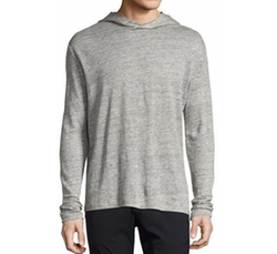 Colton Zephyr Melange Linen Pullover Hoodie by Theory in Death Note