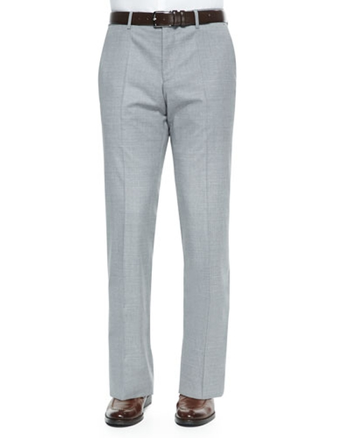 Wool Flat-Front Pants by Boss Hugo Boss in American Ultra