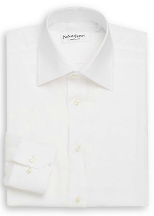Regular-Fit Solid Linen Dress Shirt by Yves Saint Laurent in Mr. & Mrs. Smith