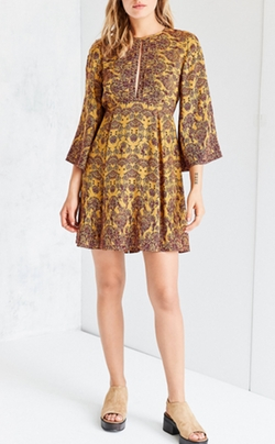 Tyler Split-Neck Bell-Sleeve Dress by Ecote in 13 Reasons Why