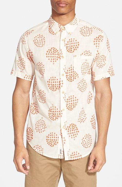 'Apple Tree' Trim Fit Short Sleeve Print Woven Shirt by Rhythm in Mr. & Mrs. Smith