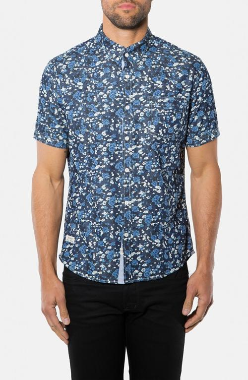 Indigo Rain Short Sleeve Floral Print Woven Shirt by 7 Diamonds in Couple's Retreat