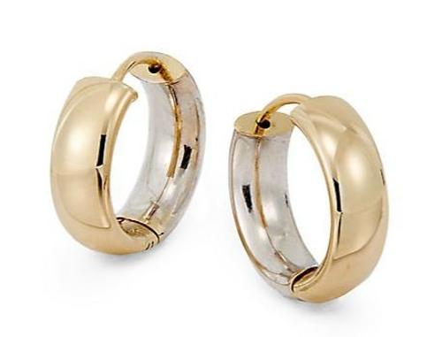 Gold Wide Hoop Earrings by Saks Fifth Avenue in Spy
