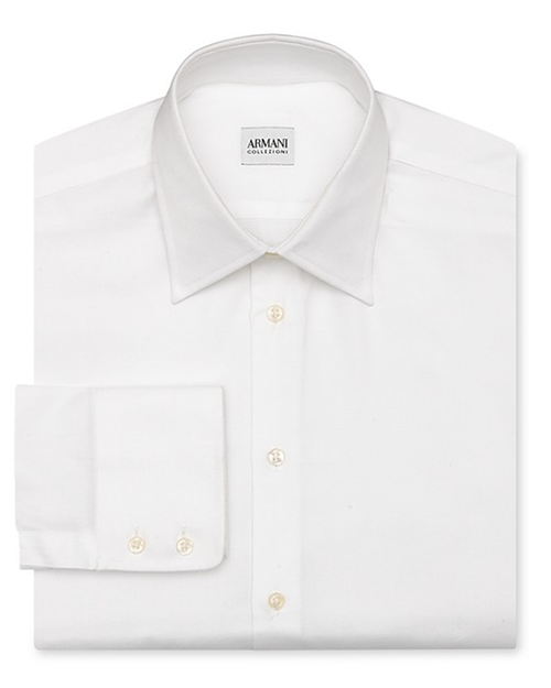 Solid Oxford Dress Shirt by Armani Collezioni in Scream Queens - Season 1 Episode 2