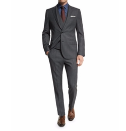 Huge Genius Slim Birdseye Three-Piece Suit by Boss Hugo Boss in The Blacklist