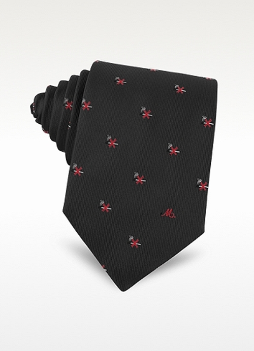 No Smoking Print Silk Jacquard Tie by Moschino in Ricki and the Flash