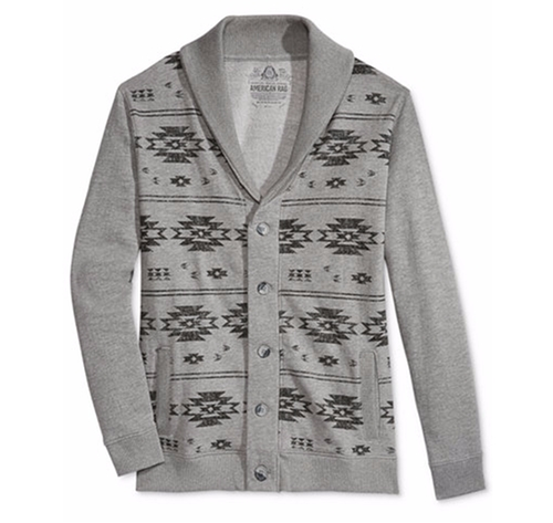Graphic-Print Shawl-Collar Cardigan by American Rag in New Girl - Season 6 Episode 3