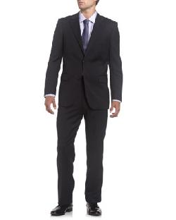 Solid Wool Suit, Modern fit,Charcoal by Neiman Marcus in The Wolf of Wall Street