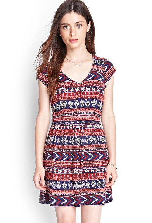 Tribal Print Open-Back Dress by Forever21 in The DUFF