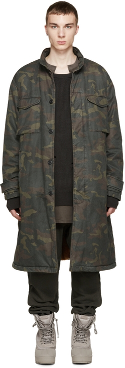 Camouflage Trenchcoat by Yeezy Season 1 in Keeping Up With The Kardashians