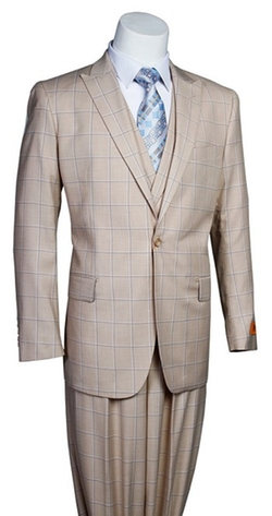 """Walter"" Windowpane Men's Modern Fashion Suit by Steven Land in Ballers"