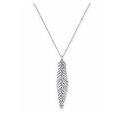 Silver-Tone Long Pavé Feather Pendant Necklace by INC International Concepts in Sisters