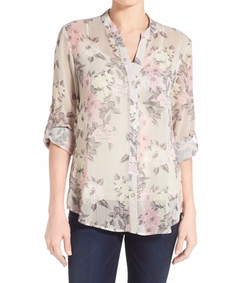 'Jasmine' Floral Print Roll Sleeve Blouse by Kut From The Kloth in Billions